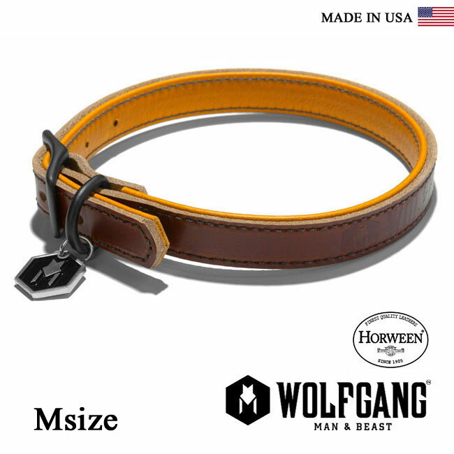 首輪 犬 犬首輪 WOLFGANG MAN & BEAST ウルフギャング HORWEEN COLLAR 【Msize/小型・中型犬用】HC0003-2 レザーカラー [MADE IN USA] 首輪 くびわ(小型犬 中型犬)