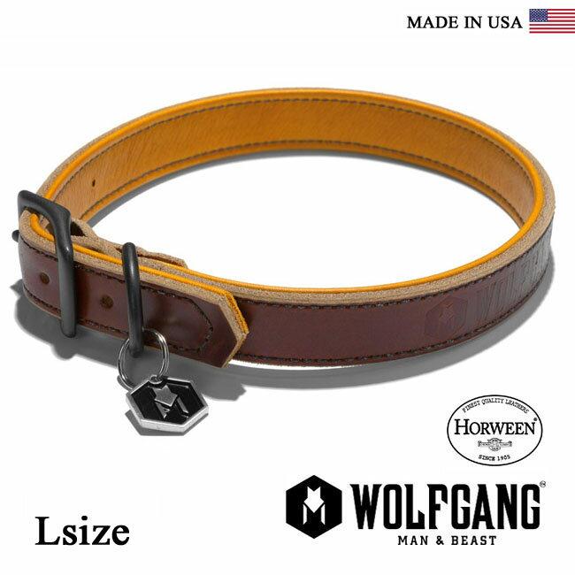 首輪 犬 犬首輪 WOLFGANG MAN & BEAST ウルフギャング HORWEEN COLLAR 【Lsize/中型・大型犬用】HC0004-2 レザーカラー [MADE IN USA] 首輪 くびわ(中型犬 大型犬)