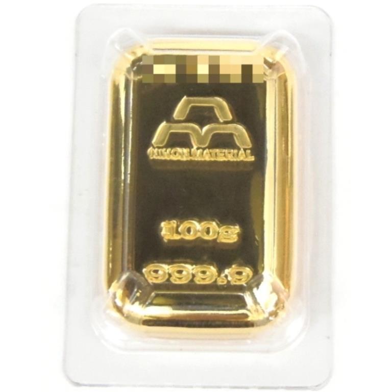 日本マテリアル 純金 インゴット 24金 100g ゴールドバー 金塊(38282)