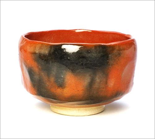 【茶道具 小茶碗】野点茶碗 赤楽 佐々木松楽作