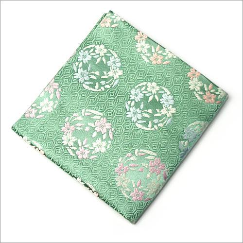【茶道具 出帛紗/出袱紗】出帛紗 亀甲に桜の丸 緑 正絹