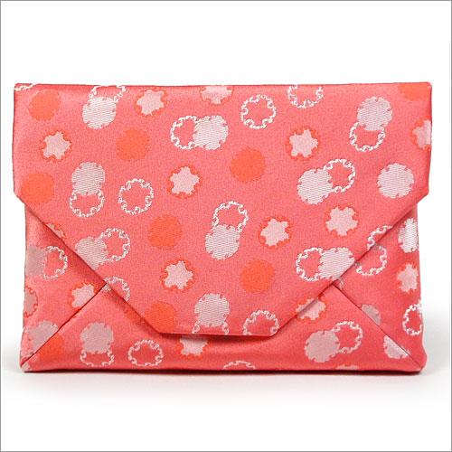 【茶道具 数奇屋袋】数寄屋袋 交織 雪輪模様 ピンク和風バッグインバッグとして 和装 着物 浴衣のバッグ 小物入れ