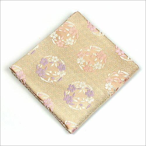 【茶道具 出帛紗/出袱紗】出帛紗 亀甲に桜の丸 ベージュ 正絹