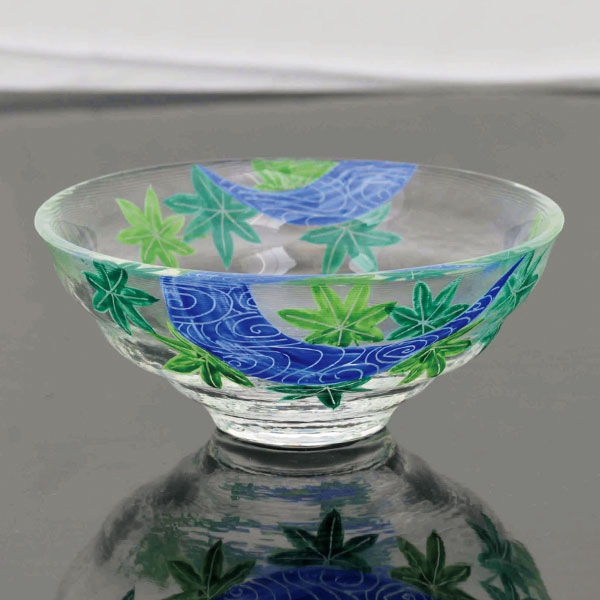 【茶道具 ガラスの抹茶碗】硝子平茶碗 観世水に青楓(耐熱)松本明日香作