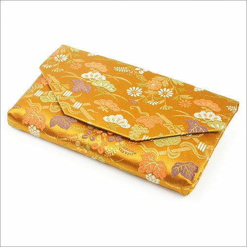 【茶道具 帛紗ばさみ・懐紙入れ】ボタン・ファスナー付き帛紗ばさみ菊花垣根 正絹和風のバッグインバッグとして