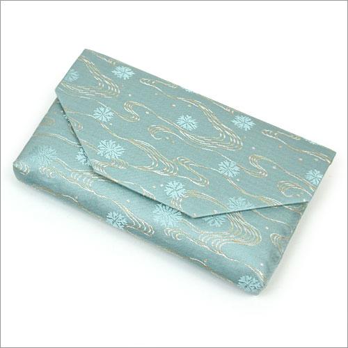 【茶道具 帛紗ばさみ・懐紙入れ】ボタン・ファスナー付き帛紗ばさみ海松浪裂 正絹和風のバッグインバッグとして