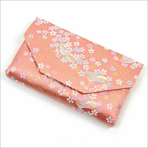 【茶道具 帛紗ばさみ・懐紙入れ】ボタン・ファスナー付き帛紗ばさみ流水扇面に桜 正絹和風のバッグインバッグとして