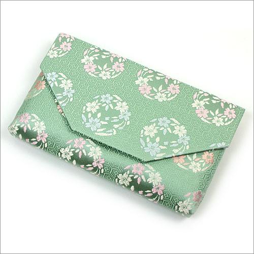 【茶道具 帛紗ばさみ・懐紙入れ】ボタン・ファスナー付き帛紗ばさみ亀甲に桜の丸 正絹和風のバッグインバッグとして