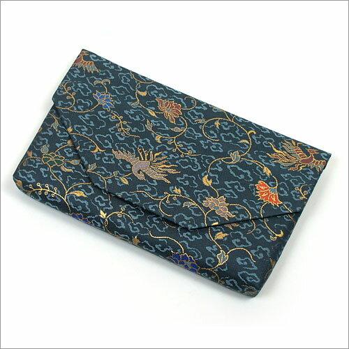 【茶道具 帛紗ばさみ・懐紙入れ】ボタン・ファスナー付き帛紗ばさみ 鳳凰唐草 正絹和風のバッグインバッグとして