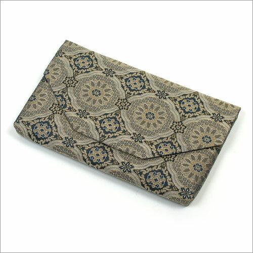 【茶道具 帛紗ばさみ・懐紙入れ】ボタン・ファスナー付き帛紗ばさみ 唐花蜀江紋 正絹和風のバッグインバッグとして