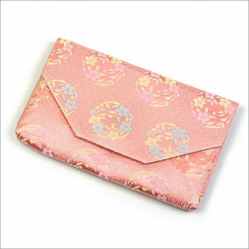 【茶道具 帛紗ばさみ・懐紙入れ】ボタン・ファスナー付き帛紗ばさみ 亀甲に桜の丸 正絹和風のバッグインバッグとして