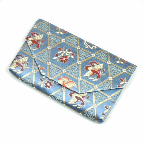 【茶道具 帛紗ばさみ・懐紙入れ】ボタン・ファスナー付き帛紗ばさみ 籠目正倉院花鳥紋 正絹和風のバッグインバッグとして