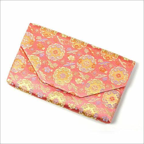 【茶道具 袱紗挟み/懐紙入れ】ボタン・ファスナー付き帛紗ばさみ 鳳凰華紋錦 正絹和風のバッグインバッグとして