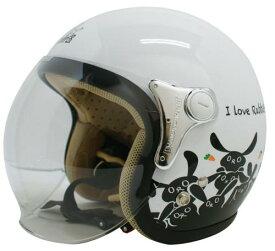 レディース用 ヘルメット【DAMMTRAX[ダムトラックス]】 CARINA カリーナ RABBIT(ウサギ) WHITE / 白 レディース 女性用 バイク用 ジェットヘルメット