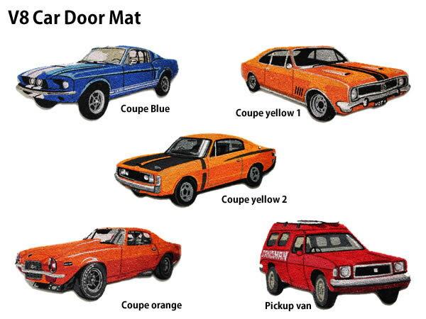 V8 Car Door Mat V8カー ドア マット アメ車 ガレージ 玄関マット コイヤー