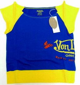 スーパーSALE ポイント10倍 洋服 von-t-020 Von Dutch サイドロゴPT ブルーS 女性用 レディース Tシャツ Sサイズ ギフト クリスマスプレゼント