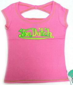 スーパーSALE ポイント10倍 洋服 von-t-023 Von Dutch バックデザイン ピンクM 女性用 レディース Tシャツ Mサイズ ギフト クリスマスプレゼント