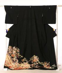 黒留袖レンタルフルセットkt-40[着物][留袖][結婚式][貸衣装][留袖][レンタル][着物レンタル][熨斗流れ][花車][149cm〜171cm位まで]足袋・肌着プレゼント★往復送料無料★