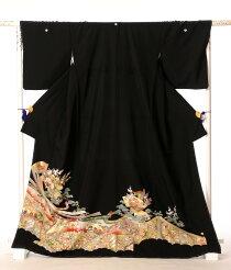 黒留袖レンタルフルセットkt-41[着物][留袖][結婚式][貸衣装][留袖][レンタル][着物レンタル][熨斗流れ][扇面][149cm〜171cm位まで]足袋・肌着プレゼント★往復送料無料★
