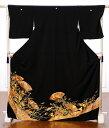 黒留袖レンタルフルセット8AA77[レンタル留袖][着物レンタル][黒留袖][着物][レンタル][結婚式][貸衣装][金彩][扇面][150cm〜170cm位ま...