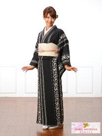 【レンタル】小紋レンタルフルセット8CT21SEIKO MATSUDA 小紋 レンタル 貸衣装 着物 黒地 バラ・縞 149cm〜167cm位まで 足袋・肌着プレゼント 往復送料無料