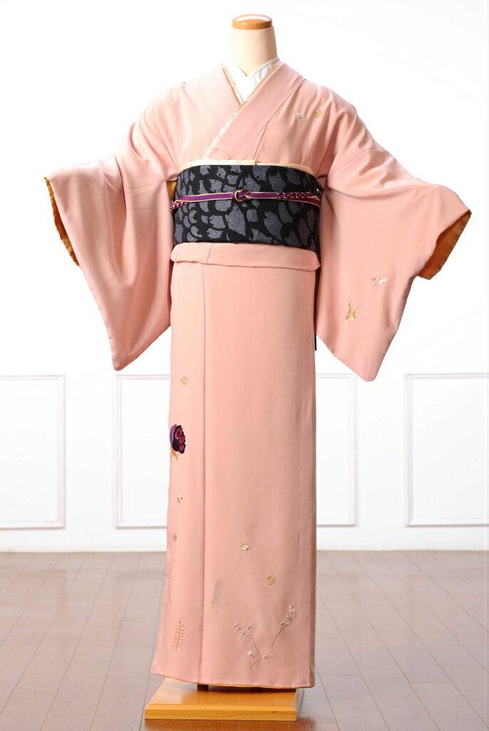 【レンタル】訪問着 レンタル 着物 訪問着レンタルフルセット8AD24 ツモリチサト tsumori chisato 着物 貸衣装 ピンク ネコモチーフ 149cm〜167cm位まで 足袋・肌着プレゼント 往復送料無料