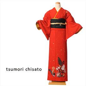 【レンタル】 ツモリチサト tsumori chisato 訪問着 レンタル 着物レンタル レンタル着物 レンタル訪問着 着物 貸衣装 赤 ステッチフラワー 付下げ訪問着レンタルフルセット 149cm〜167cm位まで 足袋・肌着プレゼント 8AD78