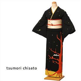 ツモリチサト tsumori chisato 訪問着 ほうもんぎ レンタル 着物レンタル レンタル着物 着物 レンタルフルセット8AD260 正絹 レンタル訪問着 お呼ばれ 黒 フクロウの森 150cm〜170cm位まで