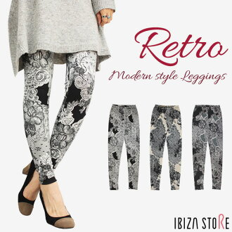 19 (Wednesday) until 13:59 retro print design 10-length leggings ★ lace modern lace style pattern lace pattern 10-length leggings Mrs. floral bkgrbei * * komoret * 2 / ee