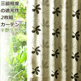 カーテン 遮光性 2枚組 品名パキラ シャンパンゴールド ベージュ系 弱遮光カーテン ボタニカル セット アイコン