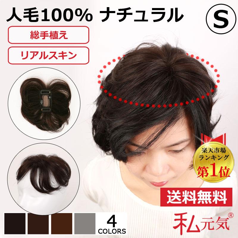 人毛100% 部分ウィッグ ポイントウィッグ 白髪かくし 男女兼用 自然な黒/濃い茶色/茶色/白髪ミックス 私元気 BHA48