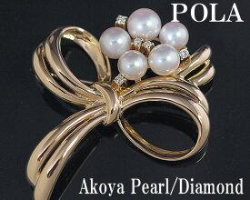 ポーラ 750YGアコヤパールダイヤモンドブローチ【送料無料】【質屋出店】
