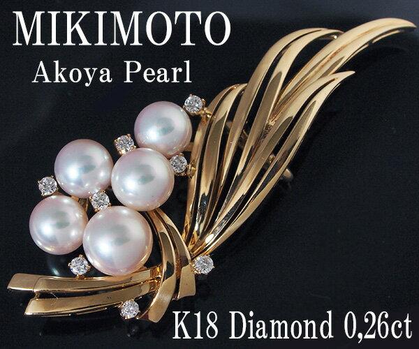 ミキモト アコヤ真珠K18ダイヤモンド帯留め【質屋出品】【送料無料】
