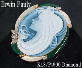 【中古】「エルヴィン・ポーリー」メノウカメオ K18/PT900 ダイヤモンドブローチ【質屋出品】【送料無料】