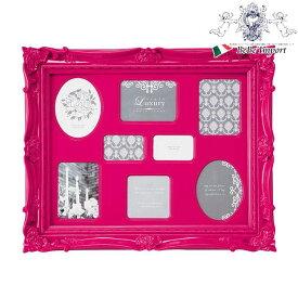 ラグジュアリースタイル フォトフレーム 8ウィンドー(ピンク) インテリア雑貨 インテリア小物 写真立て 複数窓 額縁 アンティーク調 ヨーロピアン