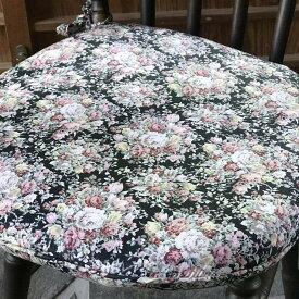 バティシートクッション BK&MULT 43×45 シートクッション ひも付き いす用 おしゃれ かわいい 座布団 椅子用 花柄 バラ 【 ロココ調 アンティーク調 ヨーロピアン クラシック エレガント ファブリック インテリア雑貨 デザイン 】