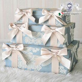 ボックス3Pセット オペラブルー ロココ調 アンティーク調 ヨーロピアン クラシック おしゃれ かわいい 雑貨 デザイン アクアフラワー オペラブルー