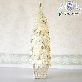 ロヴァニエミ きらきら クリスマスツリー クリスマス雑貨 ツリー ライトアップ イルミネーション ホワイト オブジェ 置物 飾り インテリア アンティーク調 ヨーロピアン クラシック おしゃれ 個性的 ラメ 白