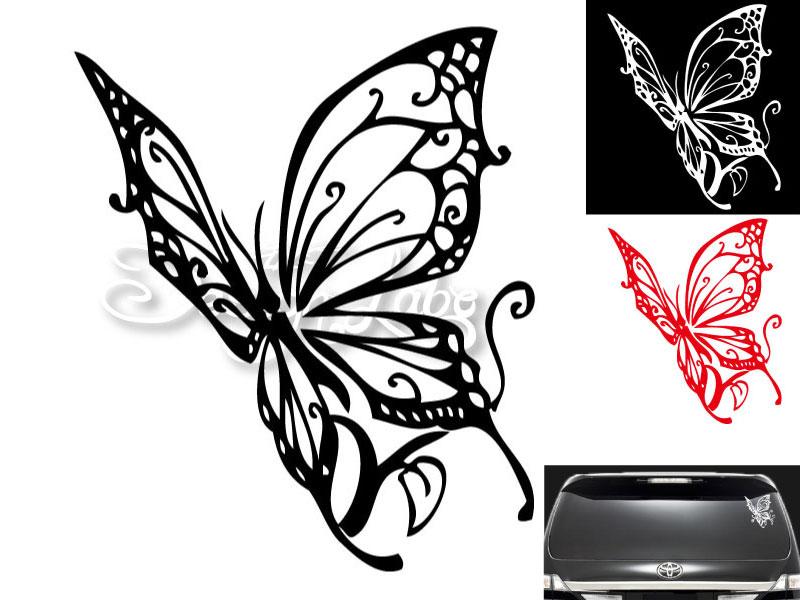 バタフライ type1 デザインカッティングステッカー カラーバリエーション有(黒・白・赤) Butterfly 蝶 大型