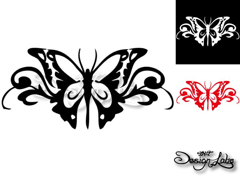 バタフライ type2 デザインカッティングステッカー カラーバリエーション有(黒・白・赤) Butterfly 蝶 大型