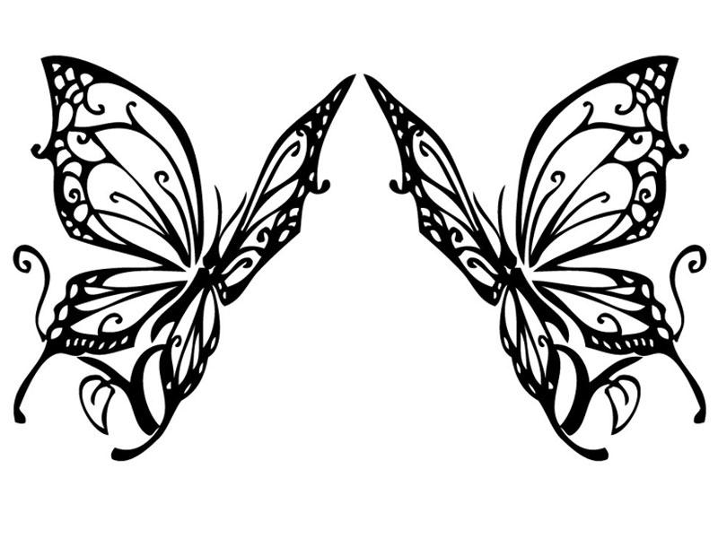 バタフライ type1 デザインカッティングステッカー 左右セット カラーバリエーション有(黒・白・赤) Butterfly 蝶 大型