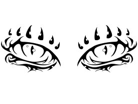 ドラゴンアイ デザインカッティングステッカー 左右セット カラーバリエーション有(黒・白) Dragon-Eye 龍 瞳 大型