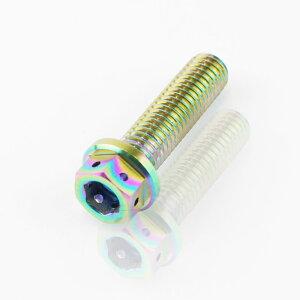 64チタン デュアルドライブ フランジボルト ワイヤーロック M8 × 30mm P1.25 焼き色有り Ti - 6Al - 4V Titanium