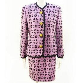 【ヴェルサーチ VERSACE】スーツ ジャケット スカート セットアップ 紫 ラベンダーピンク 38サイズ 入学式 レディース フォーマル 【中古:良品】