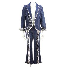 【エスカーダ ESCADA】美品 デニムジャケット パンツ 34サイズ フラワー フリンジ セットアップ レディース アウター ボトムス【中古】