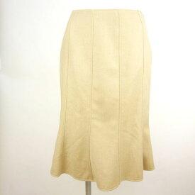 【レ・コパン Les Copains】美品 ベージュ へリンボーン マーメイド スカート 38サイズ オフィスカジュアル レディース【中古】