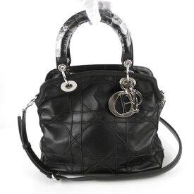 【Christian Dior クリスチャン・ディオール】カナージュ 2WAYバッグ ハンドバッグ グランヴィル 黒 シープスキン【中古】