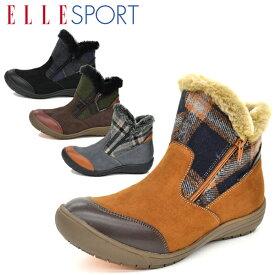 ELLESPORT/エルスポーツ レディース ショートブーツ カジュアルシューズ カジュアルブーツ ウインターシューズ ウインターブーツ ボア ゆったり 幅広 冬靴 秋靴 スノトレ ダブルファスナー 撥水 防滑 ESP11884 あす楽対応_北海道 BOS