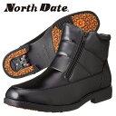 North Date/ノースデイト/ノースデート メンズ 冬靴 ビジネスシューズ スノーブーツ ビジネスブーツ スパイク ワンタッチスパイク 防滑 防水 雪道対応 合皮 サイドゴア 4E ND555 BH555 BOS