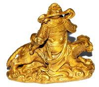 銅製開運風水白虎財神様像